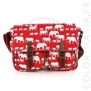 Sacoche Cambrige Rouge Imprimé Elephants | Color-Mania