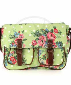Bolsas verdes de Cambridge impresas con flores y guisantes | Color-Mania