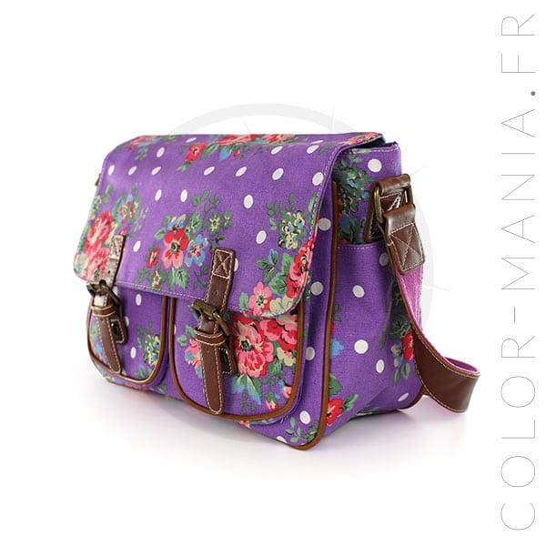 Sacoche Cambridge Violet Imprimé Fleurs et Pois | Color-Mania