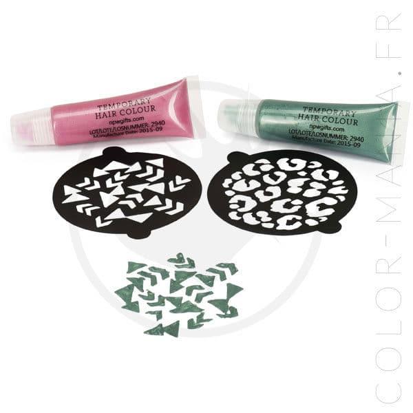 Kit Coloration Temporaire avec Pochoirs - Rose et Vert - Color-Mania
