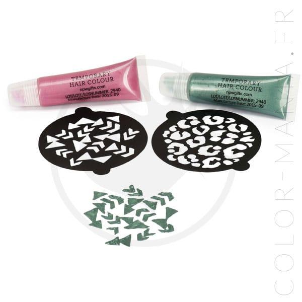 Kit temporal para colorear con plantillas - rosa y verde - Color-Mania