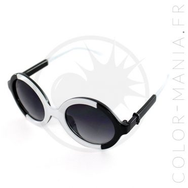 Lunettes de Soleil Rondes Bicolores Noir et Blanc | Color-Mania
