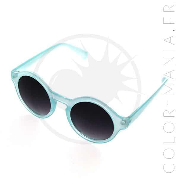 Lunettes de Soleil Rondes Bleu Transparent   Color-Mania