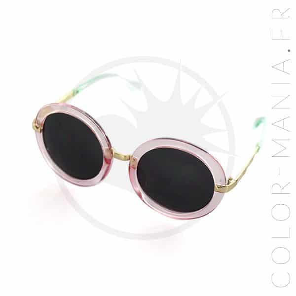 Gafas de sol redondas de gran tamaño rosa transparente | Color-Mania