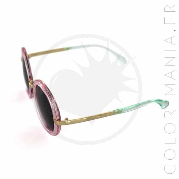 Lunettes de Soleil Rondes Oversize Rose Transparent   Color-Mania fd6eb3e817ca