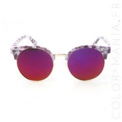 Gafas de sol de medio marco de mármol violeta | Color-Mania