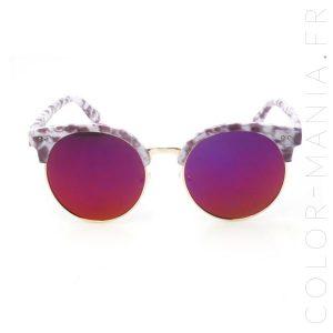 Lunettes de Soleil Demi-Monture Violet Marbré | Color-Mania