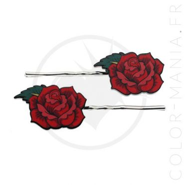 Barrettes Roses Rouges Old School | Color-Mania