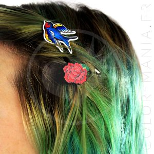 Barrettes Roses Rouges et Hirondelles Old School | Color-Mania