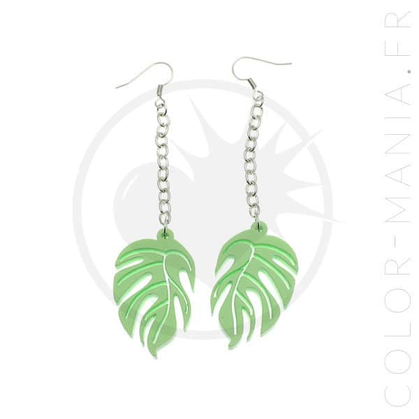 Boucles d'Oreilles Feuilles Tropicales Vert Clair | Color-Mania