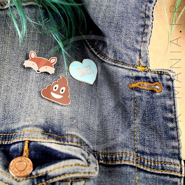 Emoji Caca Pin, Red Fox y Blue Heart Hugs | Color-Mania
