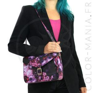 Mini Satchel - Sac à Main Rétro Violet à Fleurs | Color-Mania