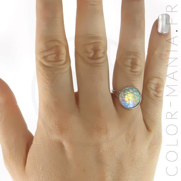 Bague Écailles de Sirène Irisées | Color-Mania