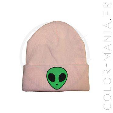 Bonnet Rose Pastel Extraterrestre Vert | Color-Mania