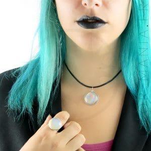 Bague et Collier Opalite Blanche | Color-Mania