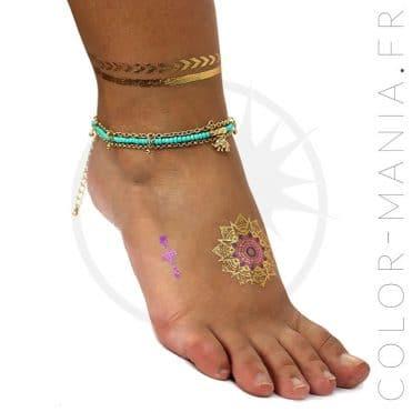 Bracelet de Cheville et Tattoos Métallisés | Color-Mania