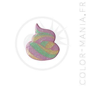 Pin's Caca de Licorne Rose Pailleté | Color-Mania