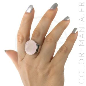 Bague Ronde en Quartz Rose | Color-Mania
