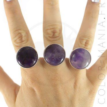 Bague Ronde en Améthyste Violette | Color-Mania