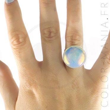 Bague Ronde en Opalite Blanche | Color-Mania