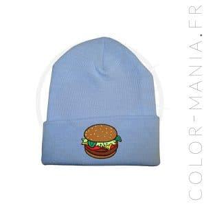 Bonnet Bleu Ciel Burger Marron | Color-Mania