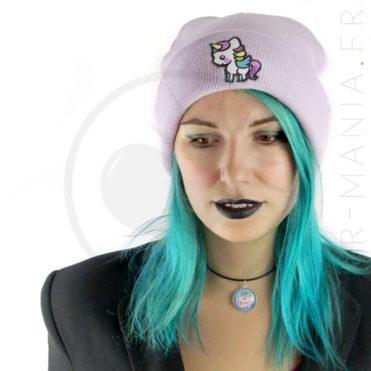Bonnet Violet Lilas Licorne Blanche | Color-Mania