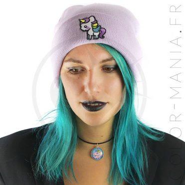 Bonnet Violet Lilas Licorne Blanche - Color-Mania