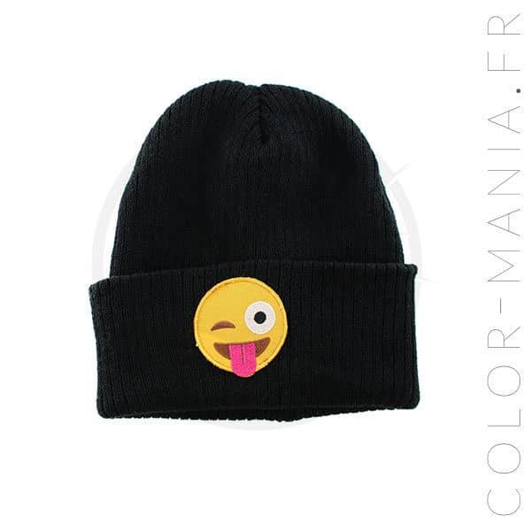 Bonnet Noir Emoji Langue | Color-Mania