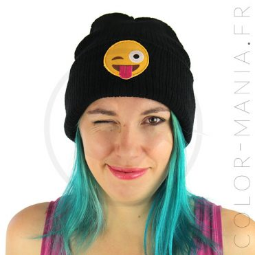 Bonnet Noir Emoji Langue | Color-Mania