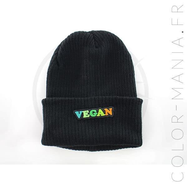 Bonnet Noir Vegan Vert et Orange | Color-Mania