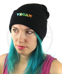 Bonnet Noir Vegan Vert et Orange | Color-Mania