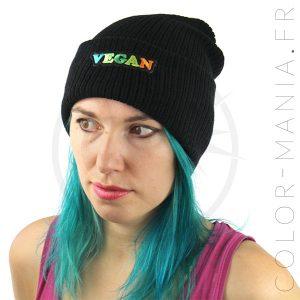 Bonnet Noir Vegan Vert et Orange   Color-Mania