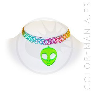 Collier Tattoo Arc-en-Ciel Alien Vert | Color-Mania