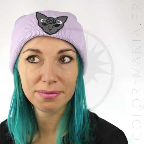 Bonnet Lilas Chat Mystique Gris | Color-Mania