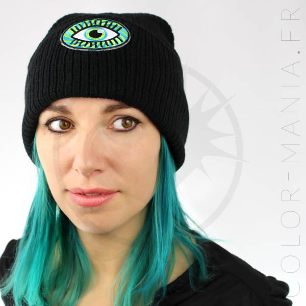 Bonnet Noir Œil Psychédélique Vert et Bleu | Color-Mania