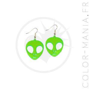 Boucles d'Oreilles Alien Vert | Color-Mania