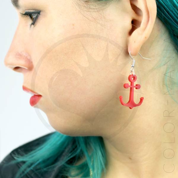 Boucles d'Oreilles Ancres Rouges | Color-Mania
