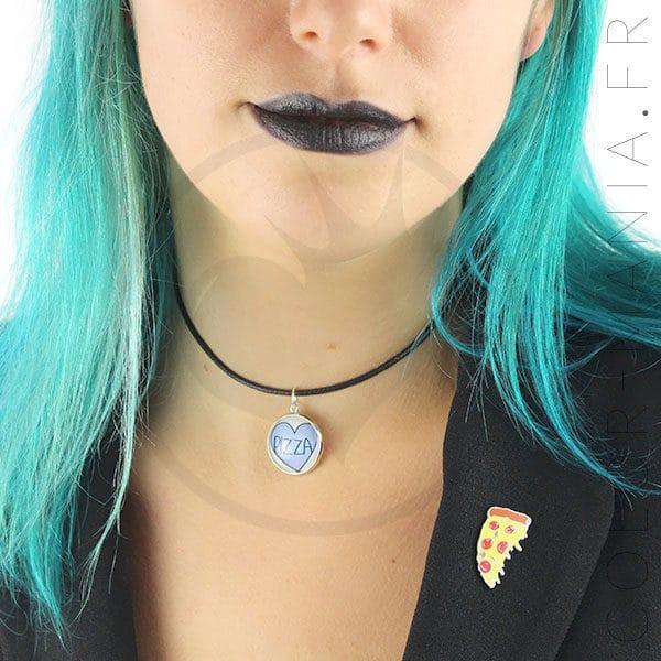 Collier Ras de Cou Cœur Bleu Pizza | Color-Mania