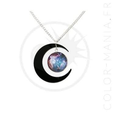 Collier Galaxie et Croissant de Lune Noir | Color-Mania