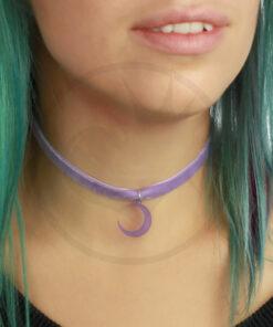 Collier Ras de Cou Velours Lune Violet Lilas | Color-Mania