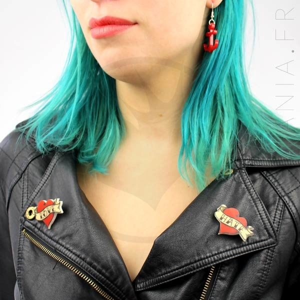 Broches Cœurs Rouges Old School Love-Hate | Color-Mania