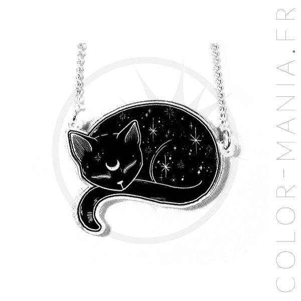 Collier Chat Stellaire Noir   Color-Mania