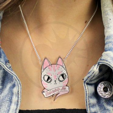 Collier Chat Worship Me Rose et Blanc | Color-Mania