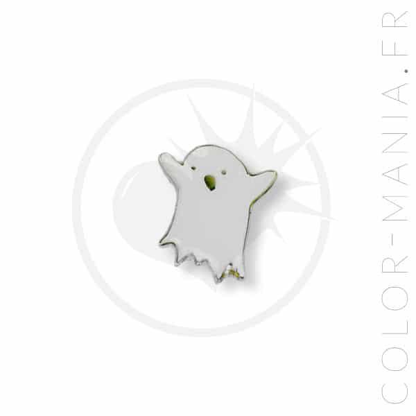 Pequeño fantasma blanco botón Color-Mania
