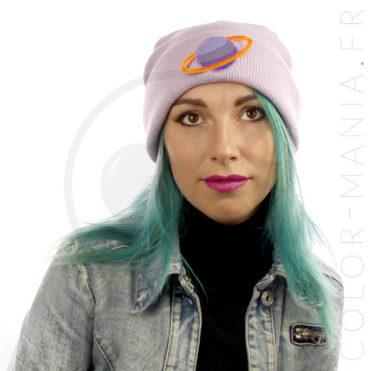 Bonnet Lilas Saturne Violet & Abricot | Color-Mania