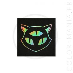 Patch Chat 3 Yeux Holographique Noir | Color-Mania