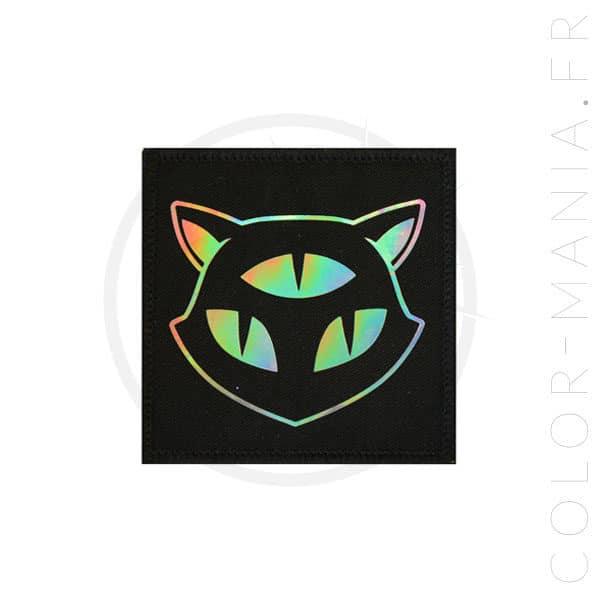Patch Chat 3 Yeux Holographique Noir | Color-Mania