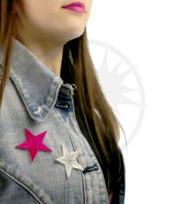 Pequeño Parche de Estrella de Plata Fucsia | Color-Mania