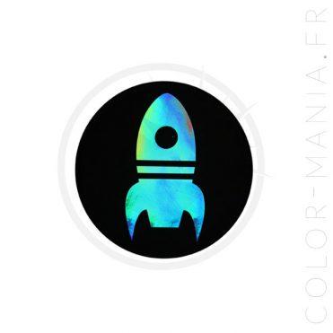 Patch Fusée Noir Holographique   Color-Mania