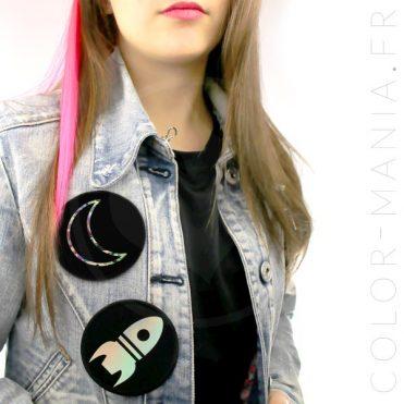 Patch Fusée et Lune Noir Holographique | Color-Mania